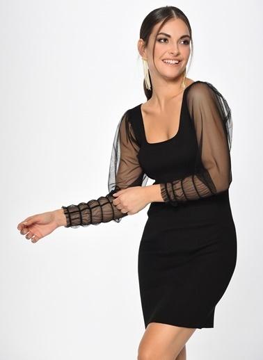 Loves You Kolları Gipeli Triko Elbise Siyah